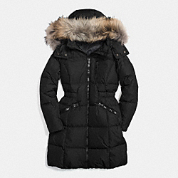 SOLID LONG DOWN COAT WITH FUR - f84769 - BLACK