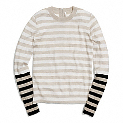 MERINO BAR STRIPE ZIP BACK CREWNECK SWEATER - f84824 - BEIGE/WHITE