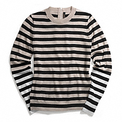 MERINO BAR STRIPE ZIP BACK CREWNECK SWEATER - f84824 - BEIGE/BLACK