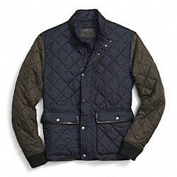 COACH F84851 Quilted Jacket NAVY/OLIVE