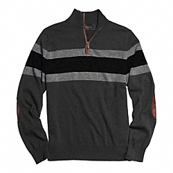 COACH F84867 - STRIPED HALF ZIP WOOL PULLOVER CHARCOAL/BLACK
