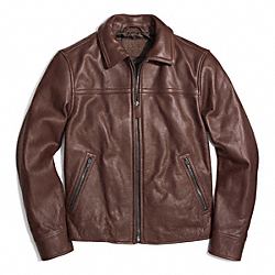COACH F84971 Year Round Leather Bomber Jacket DARK BROWN