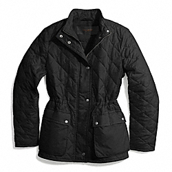 COACH DIAMOND QUILTED HACKING JACKET - BLACK - F84993