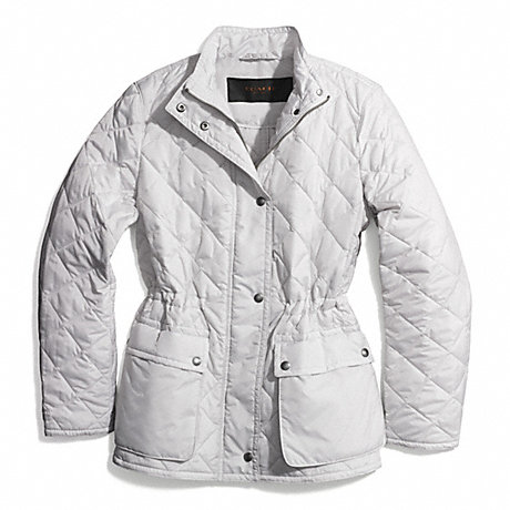 Coach F84993 Diamond Quilted Hacking Jacket Oyster Coach New