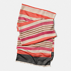 COACH HADLEY MULTI STRIPE 30X80 SCARF - PINK MULTICOLOR - F85005