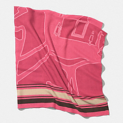 COACH F85010 Horse And Carriage Oversized Square Scarf  LOGANBERRY