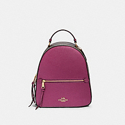 JORDYN BACKPACK IN SIGNATURE CANVAS - F85029 - IM/BROWN METALLIC BERRY