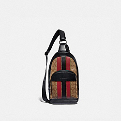 COACH F85035 - HOUSTON PACK IN SIGNATURE CANVAS WITH VARSITY STRIPE QB/TAN/SOFT RED/BLACK