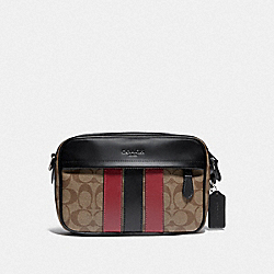 COACH F85037 - GRAHAM CROSSBODY IN SIGNATURE CANVAS WITH VARSITY STRIPE QB/TAN/SOFT RED/BLACK