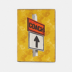 COACH F85039 Passport Case With Horse And Carriage Print QB/YELLOW MULTI
