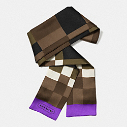 COLORBLOCK INTARSIA PONYTAIL SCARF - f85055 -  LIGHT GOLD/PURPLE IRIS
