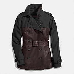 LEATHER MIXED MATERIALS SLIM TRENCH - f85081 -  OXBLOOD/BLACK