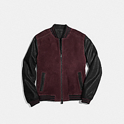 COACH F85094 Suede Baseball Jacket CORDOVAN/BLACK
