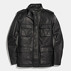 COACH F85096 Harrison Leather Jacket BLACK