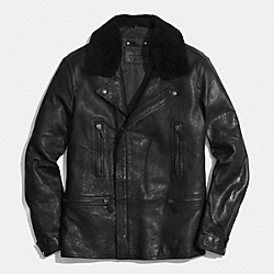 COACH F85100 - LONG LEATHER MOTO JACKET WITH SHEARLING COLLAR BLACK/BLACK