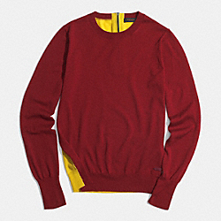 COACH F85111 - MERINO COLORBLOCK CREW SWEATER  BORDEAUX/SAFFRON