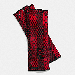 COACH F85116 Cashmere Plaid Fingerless Gloves  RED/BLACK
