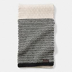 COACH F85133 Check Knit Scarf CREAM/BLACK