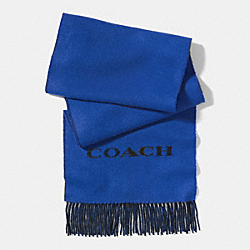 COACH F85134 Bicolor Cashmere Blend Woven Scarf COBALT/GREY