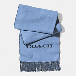 BICOLOR CASHMERE BLEND WOVEN SCARF - f85134 - CORNFLOWER/NAVY