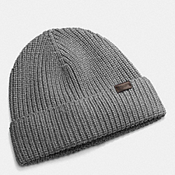 COACH F85140 - RIB KNIT HAT GRAY