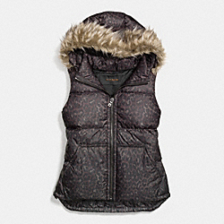 COACH F85176 Ocelot Puffer Vest With Faux Fur MULTICOLOR