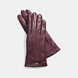 BOW LEATHER GLOVE - f85229 - SILVER/PLUM