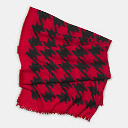 COACH F85242 - LARGE HOUNDSTOOTH CASHMERE SHAWL  RED/BLACK