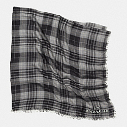 COACH F85254 Printed Plaid Oversized Square Scarf  BLACK