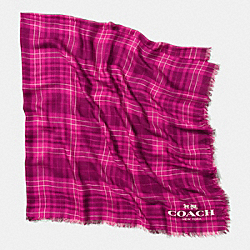 COACH F85254 Printed Plaid Oversized Square Scarf  PINK