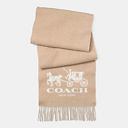 COACH F85262 - HORSE AND CARRIAGE MUFFLER  CAMEL/IVORY