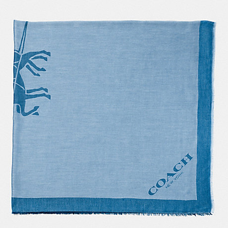 COACH F85264 HORSE AND CARRIAGE JACQUARD OVERSIZED SQUARE SCARF PALE-BLUE