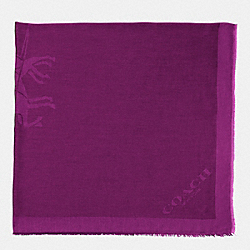 COACH F85264 Horse And Carriage Jacquard Oversized Square Scarf PLUM