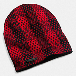 COACH F85278 - CASHMERE PLAID HAT  RED/BLACK