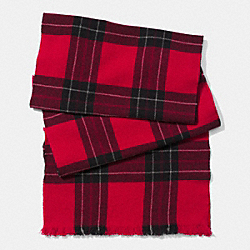 COACH F85300 Wool Box Plaid Scarf CHERRY