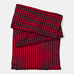 COACH F85301 Wool Houndstooth Scarf CHERRY