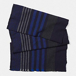 COACH F85302 Wool Variegated Vertical Stripe Scarf NAVY
