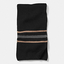 CASHMERE MULTI STRIPE RIBBED SCARF - f85315 - BLACK/CAMEL
