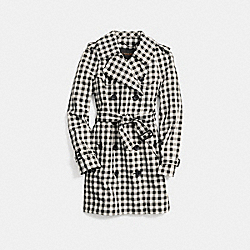 MID-LENGTH CHECK TRENCH - f85533 -  IVORY/BLACK