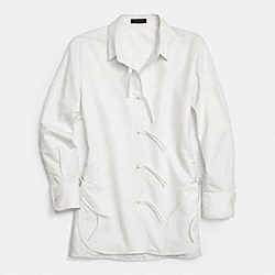 COACH F85545 Cotton String Front Shirt ECRU