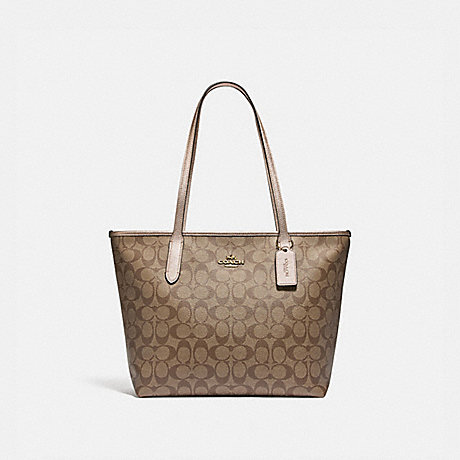 COACH F85693 ZIP TOP TOTE IN SIGNATURE CANVAS IM/KHAKI-PLATINUM