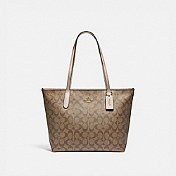 ZIP TOP TOTE IN SIGNATURE CANVAS - F85693 - IM/KHAKI PLATINUM