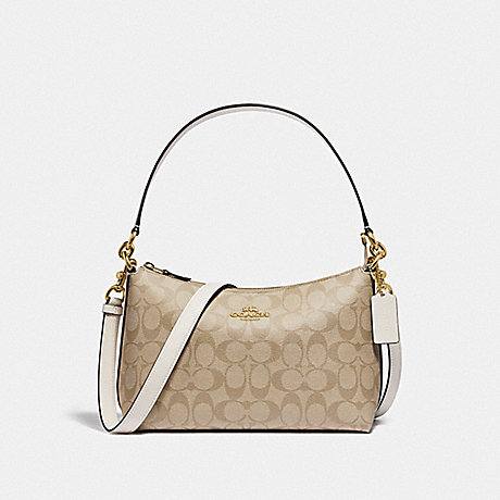 COACH F85696 LEWIS SHOULDER BAG IN SIGNATURE CANVAS IM/LIGHT-KHAKI/CHALK