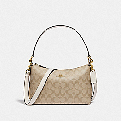 LEWIS SHOULDER BAG IN SIGNATURE CANVAS - F85696 - IM/LIGHT KHAKI/CHALK