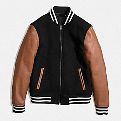COACH F85830 - WOOL VARSITY JACKET BLACK/SADDLE