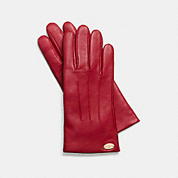 COACH F85876 Basic Leather Glove IMITATION GOLD/CLASSIC RED