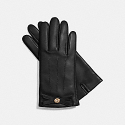 COACH F85929 Bow Leather Glove BLACK/LIGHT GOLD