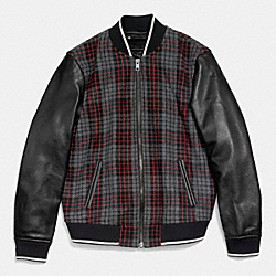 COACH F85999 Wool Varsity Jacket In Plaid EBW