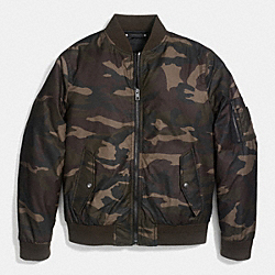 RIB KNIT AVIATOR JACKET IN CAMO PRINT - f86002 - GREEN CAMO
