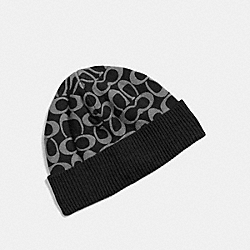 COACH F86024 Signature Knit Hat BLACK/GRAY